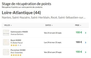 permis a points tours